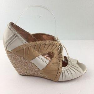 Anthropologie Seychelles Siren Wedge Shoes 9 Ivory